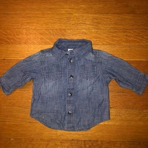 Baby Boy's Old Navy Denim Long Sleeve Shirt Sz 0-3